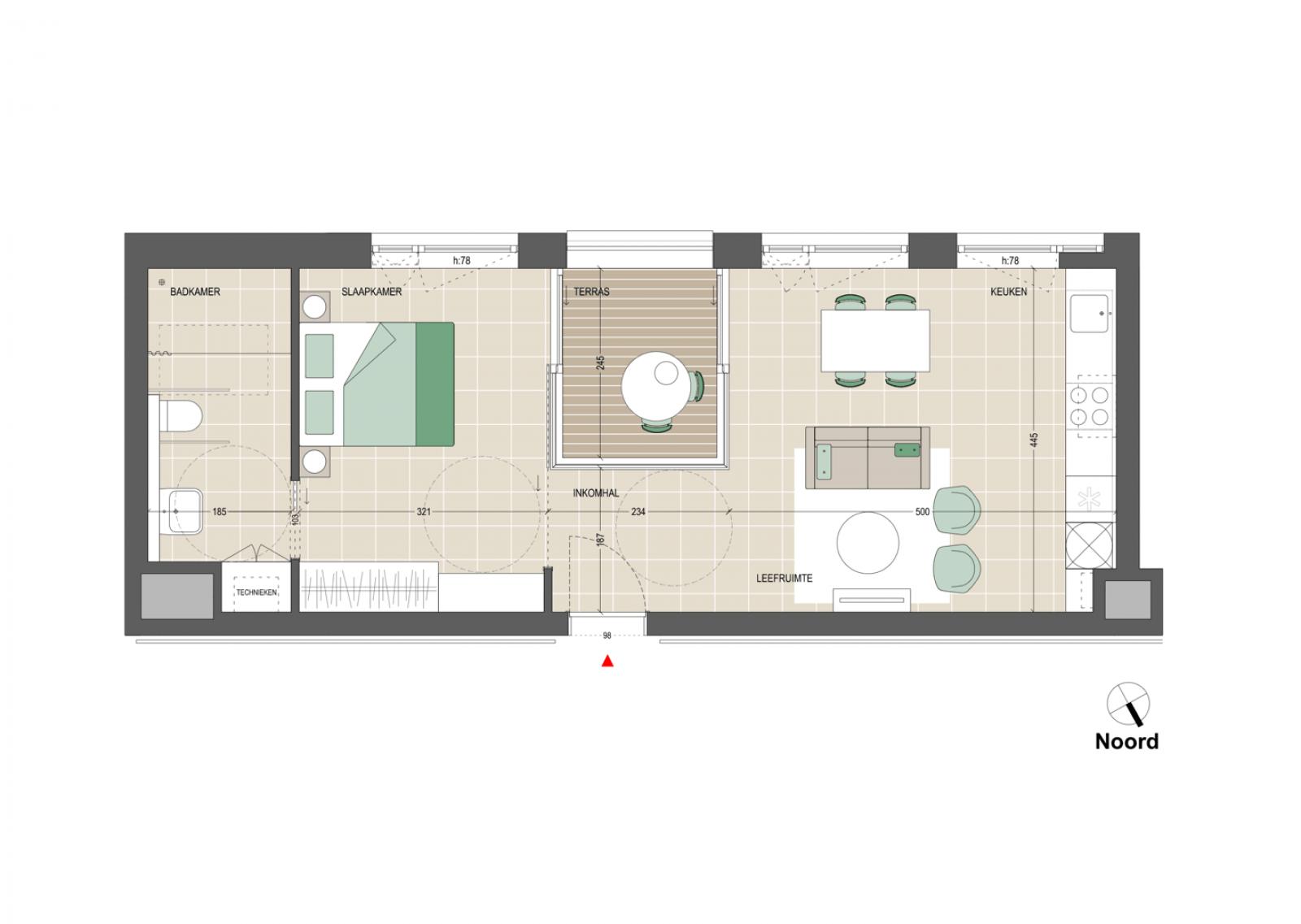 Appartement 1 slaapkamer